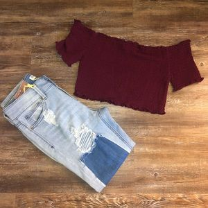 Red crop top and distressed jeans set